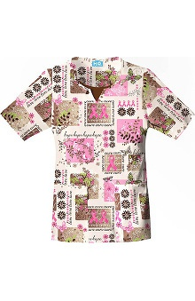 Scrub H.Q. by Cherokee Women's Scoop Neck Breast Cancer Awareness Print Scrub Top