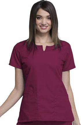 Cherokee Workwear Women's Round Neck Solid Scrub Top