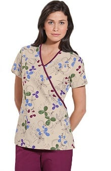 Scrub H.Q. by Cherokee Women's Mock Wrap Botanical Print Scrub Top