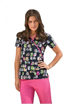 Scrub H.Q. by Cherokee Women's Mock Wrap Owl Print Scrub Top
