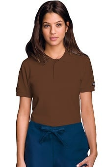 unisex tops: Cherokee Workwear Unisex Short Sleeve Polo Solid Scrub Top
