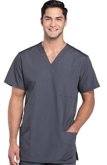 unisex tops: Cherokee Workwear Unisex V-Neck 3-Pocket Solid Scrub Top