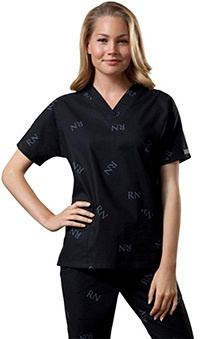 Clearance Cherokee Workwear Women's V-Neck Logo Print Scrub Top