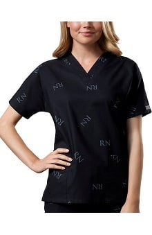 Clearance Cherokee Workwear Women's V-Neck Tunic Logo Print Scrub Top