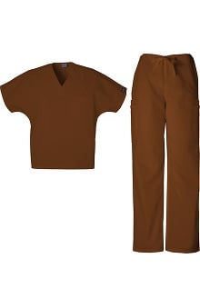Cherokee Workwear Men's V-Neck with Dolman Sleeves Scrub Top & Drawstring Pant Set