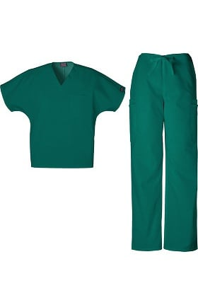 Cherokee Workwear Originals Men's V-Neck with Dolman Sleeve Top & Drawstring Pant Scrub Set