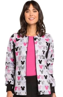 firefighter print: Tooniforms by Cherokee Women's Warm Up Mickey Mouse Print Scrub Jacket