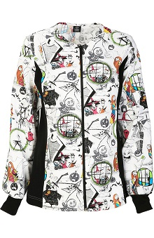Tooniforms by Cherokee Women's Halloween Print Warm Up Scrub Jacket