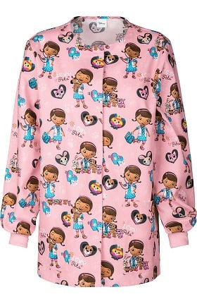 Tooniforms by Cherokee Women's Crew Neck Doc McStuffins Print Warm-Up Scrub Jacket