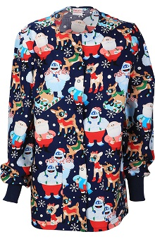 Tooniforms By Cherokee Women's Crew Neck Christmas Print Warm-Up Scrub Jacket