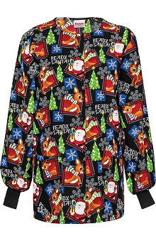 Tooniforms by Cherokee Women's Santa Print Warm Up Scrub Jacket