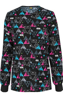 Tooniforms by Cherokee Women's Snap Front Hope Print Warm-Up Scrub Jacket