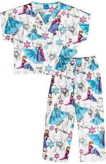 Tooniforms by Cherokee Kid's Unisex Frozen Print Scrub Set
