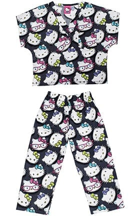 Tooniforms by Cherokee Kid's Unisex Hello KittyPrint Scrub Set