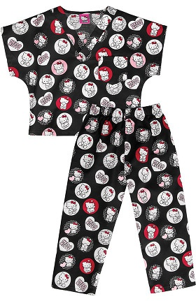 Clearance Tooniforms by Cherokee Kid's Unisex Hello Kitty Print Scrub Set