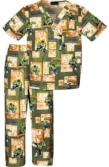 Tooniforms by Cherokee Kid's Unisex Incredible Hulk Print Scrub Set