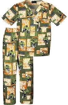 Clearance Tooniforms by Cherokee Kid's Unisex Incredible Hulk Print Scrub Set