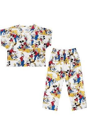 Tooniforms by Cherokee Kid's Unisex Mickey Mouse Print Scrub Set