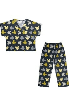 Tooniforms by Cherokee Unisex Kid's Mickey Mouse Print Scrub Set