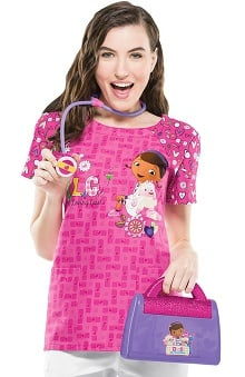 Tooniforms By Cherokee Women's Round Neck Doc McStuffins Print Scrub Top