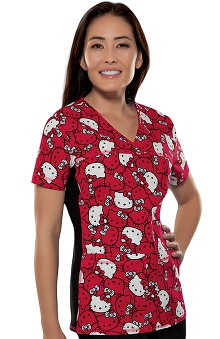 Clearance Tooniforms by Cherokee Women's V-Neck Hello Kitty Faces Print Scrub Top