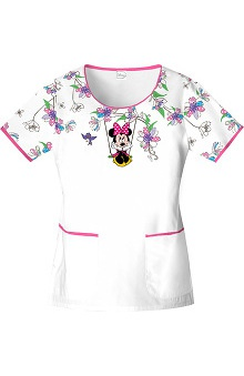 Tooniforms by Cherokee Women's Scoop Neck Disney Minnie Mouse Print Scrub Top