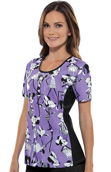 Tooniforms by Cherokee Women's Round Neck Minnie Mouse Print Scrub Top