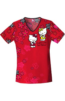 Tooniforms by Cherokee Women's V-Neck Hello Kitty Laughs Print Scrub Top