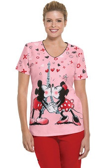 Clearance Tooniforms by Cherokee Women's V-Neck Minnie and Mickey Print Scrub Top