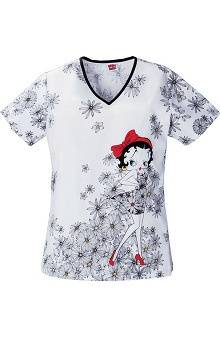 Tooniforms by Cherokee Women's Back Elastic V-Neck Betty Boop Print Scrub Top