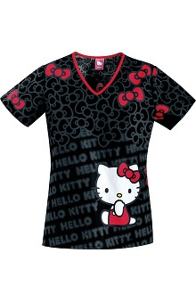 Tooniforms by Cherokee Women's Back Elastic V-Neck Hello Kitty Print Scrub Top