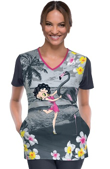 Tooniforms by Cherokee Women's V-Neck Flamingo Dancer Print Scrub Top