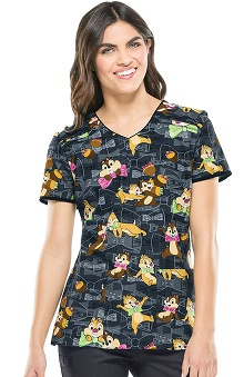 Tooniforms By Cherokee Women's V-Neck Chipmunks Print Scrub Top