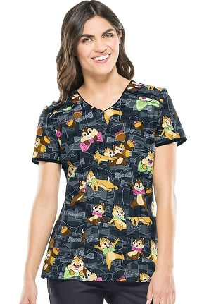 Clearance Tooniforms by Cherokee Women's V-Neck Chipmunks Print Scrub Top