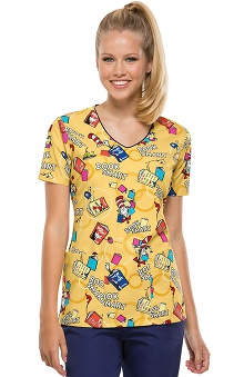 Tooniforms by Cherokee Women's V-Neck Book Smart Print Scrub Top