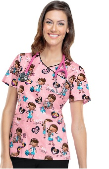 Tooniforms by Cherokee Women's Mock Wrap Doc McStuffins Print Scrub Top