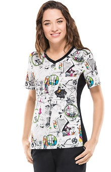 Tooniforms By Cherokee Women's V-Neck Knit Panel Halloween Print Scrub Top