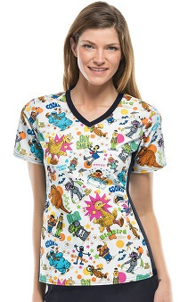 Tooniforms by Cherokee Women's V-Neck Knit Panel Sesame Street Print Scrub Top