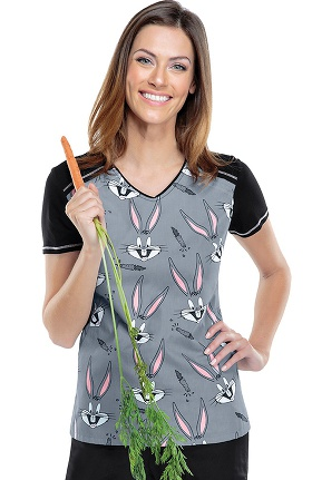 Tooniforms by Cherokee Women's V-Neck Bugs Bunny Print Scrub Top