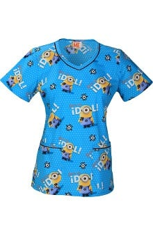 Tooniforms By Cherokee Women's V-Neck Minions Print Scrub Top