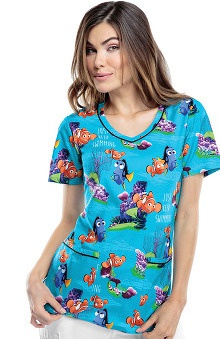 Tooniforms by Cherokee Women's V-Neck Finding Nemo Print Scrub Top