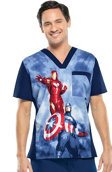 Tooniforms By Cherokee Men's V-Neck Avengers Print Scrub Top