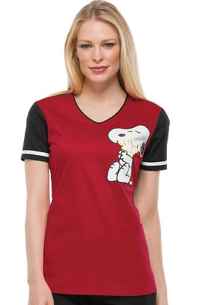Tooniforms by Cherokee Women's V-Neck Hug Me Snoopy Print Scrub Top