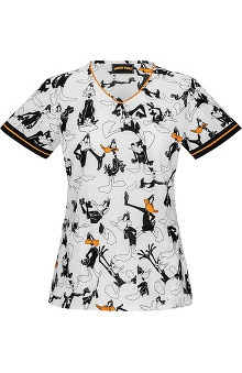 Clearance Tooniforms by Cherokee Women's V-Neck Daffy Print Scrub Top