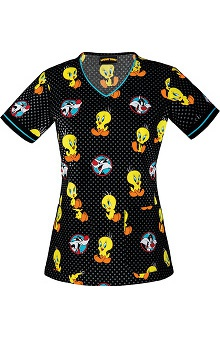 Tooniforms by Cherokee Women's V-Neck Tweety Bird Print Scrub Top