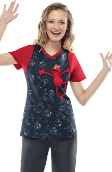 Tooniforms by Cherokee Women's V-Neck Elmo Print Scrub Top