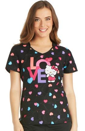 Tooniforms by Cherokee Women's V-Neck Hello Kitty Print Scrub Top
