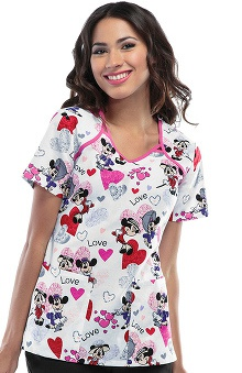 Tooniforms by Cherokee Women's V-Neck Heart Print Scrub Top