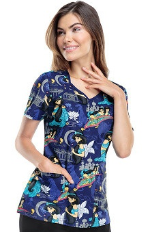 Clearance Tooniforms by Cherokee Women's V-Neck Aladdin Print Scrub Top