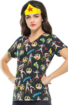 Tooniforms By Cherokee Women's V-Neck Wonder Woman Print Scrub Top